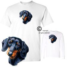 Dachshund Black & Tan Facial Sketch Art Short / Long Sleeve White T Shirt S-3X