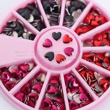 Heart Shape 3D Nail Art Decoration Mixed Color Metal Rivet in Wheel DIY Manicure