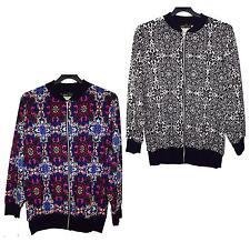 New Womens Multi Color Paisley Print Full Zip Waist Band Bomber Jacket 14-28