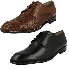 CLARKS twinley lacets élégant chaussures en cuir à largeur G - Noir ou Brun Roux