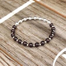 Garnet Sterling Silver Stretch Bracelet