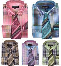 New  Men's Check Design Dress Shirt   With Matching Tie&Hanky   AH-627