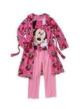 New Girls' Disney Minnie Mouse 3pc Robe Pajama Set Sleepwear SZ 6/6X 7/8 10/12