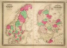 1865 Genuine Antique Hand Colored Maps Sweden, Norway, Denmark. Johnson