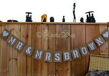 Personalised Jute Burlap Hessian Mr & Mrs Rustic Vintage Wedding Banner Bunting