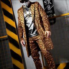Men Gothic Leopard Jacket stage performance Coat Rock Nightclub suit Pants