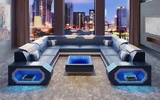 Ecksofa Ledersofa Designer Luxus Sitz Polster Ecke Couch Wohnlandschaft H2 Blau