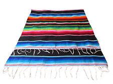 ORIGINAL MEXIKANISCHE SARAPE Indianer Decke Tiefenschwarz 220x160 cm aus Mexiko