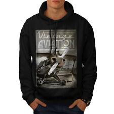 Wellcoda Vintage Aviation Mens Hoodie, Retro Casual Hooded Sweatshirt