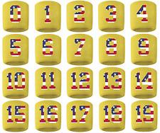 #0-19 Number Sweatband Wristband Football Basketball Yellow Usa American Flag