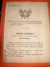REGIO DECRETO 1876 convoca il collegio elettorale GESSOPALENA x elez deputato