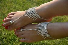 1 Pair 2pcs Barefoot Sandals Foot Jewelry  Beach Wedding Ankle Bracelet S/M/L #9