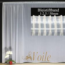 Hochwertige Fertiggardine VOILE Store Weiß Faltenband BLEISTIFTBAND 1:2,5 / 50mm