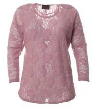 Sempre Piu by Chalou Damen Spitzenshirt Shirt Rosa Langarmshirt xxl Übergrößen