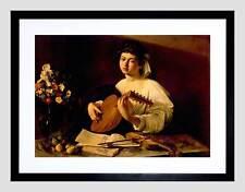 PAINTING PORTRAIT STUDY CARAVAGGIO LUTE PLAYER BLACK FRAMED ART PRINT B12X3850