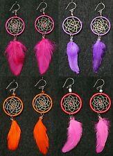 Ohrringe Traumfänger+ Feder, Perlen Indianer Schmuck Peru, pink lila orange rosa