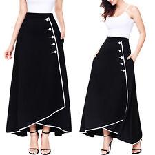 Falda mujer larga a media pierna bicolor botones talle alto ancho maxi DL-2207