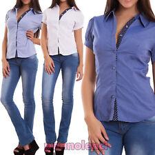 Camicia donna camicetta avvitata pois maniche corte palloncino nuova G-7066