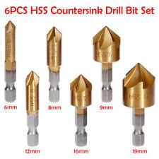 6Pcs 1/4'' 6mm-19mm 5 flûte 90° Foret FRAISE à Chanfreiner HSS Rainure Fraisage