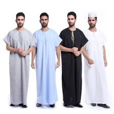 Saudi Arabian Man Dishdasha Thobe Abaya Jubba Dress Muslim Short Sleeves Clothes