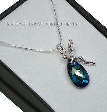 925 Silver Necklace made with Swarovski Crystals *Bermuda Blue* Elf/Fairy