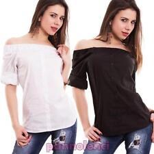 Damenhemd jersey gewellt carmen-ausschnitt gitana schwanz buttons neu CC-1424
