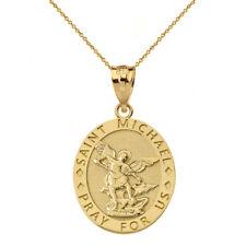 10k Yellow Gold Engravable Saint Michael Pray For Us Oval Pendant Necklace