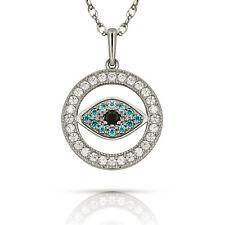 Evil Eye Multi-Color Gemstone Turkish Nazar Greek Hamsa Pendant Necklace 14K WG