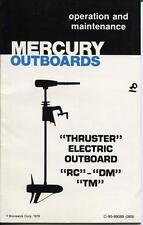 Mercury Thruster Electric Owners Manual 1980 RC DM TM Models