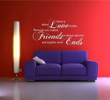 Love Amigos Memoria familiar Pared Arte citar frase Sticker Decal Mural transferencia