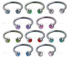 Gem Horseshoe Bar - Nipple Belly Ear Earring - Choice of 10 Colours