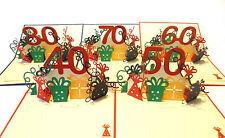 80 Geburtstag Karte Grußkarte Glitter Sektglas Applikation 16x11cm
