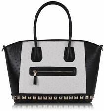 0090-Nero/Bianco di struzzo modello Tote Con borchie