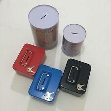 STEEL PETTY CASH BOX CASH TRAY MONEY HOLDER WITH 2 KEYS