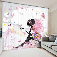 Butterfly Flower Girl3D Blockout Photo Curtain Print Curtains Fabric Kids Window