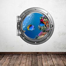 FULL COLOUR AQUARIUM FISH SEA PORTHOLE WALL STICKER KIDS BEDROOM BATHROOM DECAL