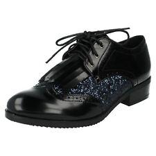 femmes f9842 Noir Synthétique Marine paillette chaussure lacet par Spot On