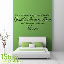Fede speranza amore Muro Adesivo preventivo-Camera da letto salotto Wall Art Decalcomania X87