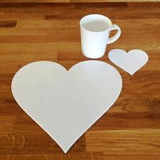 forma de corazón Mantel individual y JUEGO DE POSAVASOS - Blanco