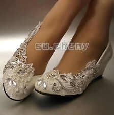 su.cheny Asymmetry lace pearl rhinestones flat heel wedges Wedding Bridal shoes