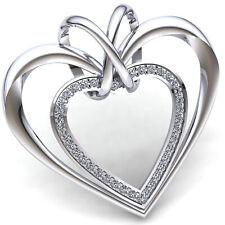 Natural 0.5carat Round Cut Diamond Ladies Love Couple Heart Pendant 18K Gold