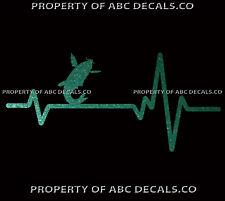 HEART BEAT LINE FISH CARP For Rod Reel Case Hook Lure Tackle Box CAR METAL DECAL