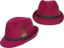 TRACHTENHUT Damen Damenhut mit Feder Hut Trachten  modisch pink Oktoberfest