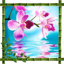 Sticker mural déco bambou Fleurs réf 907