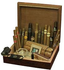18 Zigarren Probier-Sortiment im Einsteiger Humidor+Ascher+Cutter+Feuerzeug+Etui
