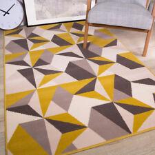 Ochre Yellow Grey Patchwork Living Room Rug New Kaleidoscope Geometric Area Rugs