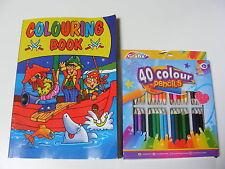 Libro da Colorare Bambini con 40 Mezzi Colori, Pastelli