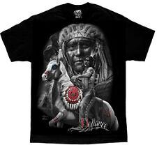 DGA David Gonzales Art Defiance Native American Culture Tattoo Punk Mens Shirt