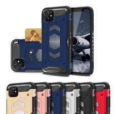 For iPhone 11 Hybrid Card Holder Magnetic Mount Metal Series Shockproof Case