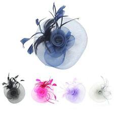 Large Feather Flower Net Elegant Fascinator Royal Ascot Races Wedding